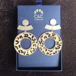 C&C California gold hoops with leopard print